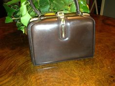 Front, lovely #50s #strolling #mini #bag in brown #leather