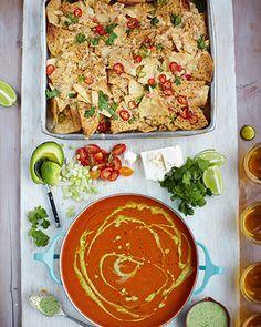 mexican tomato soup, chilli nachos, veggie & feta sprinkles