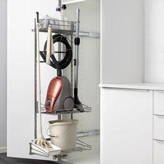 Cleaning Cupboard, Cleaning Cabinets, Cleaning Closet, Ikea Storage, Kitchen Storage, Vacuum Cleaner Storage, Garderobe Design, Utility Cupboard, Decorating Kitchen
