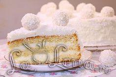 "Tort ""Raffaello"" Romanian Food, Romanian Recipes, Vanilla Cake, Deserts, Yummy Food, Cooking, Sweet, Cakes, Desserts"
