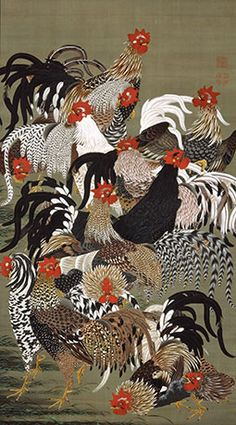ito jakuchu: arte, cor e vida na era edo Era Edo, Edo Period, Art Asiatique, Chicken Art, Chicken Quilt, Art Japonais, Chickens And Roosters, Japanese Painting, Chinese Painting