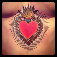 LOVE this solar plexus Sacred Heart tattoo!! #SacredHeart #tattoo #traditional #LOVEthissomuch