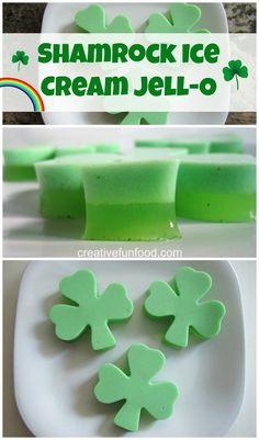 Shamrock Ice Cream JELL-O #stpatricksday #recipes http://www.creative-food.blogspot.com/2012/03/shamrock-jello.html