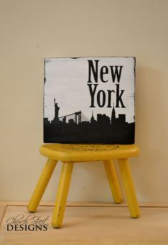 New York City Skyline Silhouette Sign - Hand Painted
