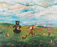 Canvas Print, Spring Jubilee 17.5 x 23, spring art, forest friends, woodland nursery, dancing animals, forest via Etsy