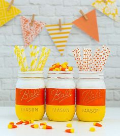 Candy Corn Mason Jars  Halloween Mason Jars  Painted and | Etsy