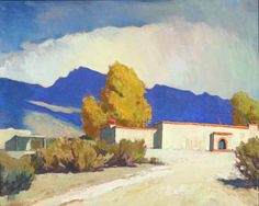 Maynard Dixon, Home of Tucson, oil on canvas, Gift of Drs. Mark and Kathleen Sublette. Landscape Art, Landscape Paintings, Oil Paintings, Landscapes, Maynard Dixon, Mexico Art, Indigenous Art, Western Art, Ranch