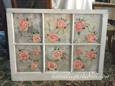 Restored Rose painted window created by me! Old Windows Painted, Ios, Window Ideas, Restoration, Decorative Boxes, Create, Home Decor, Licence Plates, Decoration Home