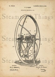 Steampunk Unicycle Patent Drawing 5x7 Photo by Steampunkthings, $10.00