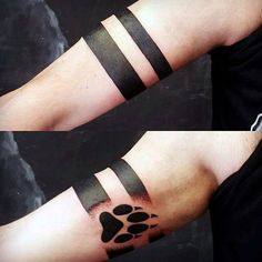 Father And Son Tattoos Ideas Gentleman With Wolf Paw Armband Tattoo Wolf Tattoos, Teen Wolf Tattoo, Animal Tattoos, Body Art Tattoos, New Tattoos, Maori Tattoos, Polynesian Tattoos, Turtle Tattoos, Marquesan Tattoos