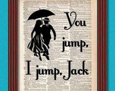 You Jump I Jump Jack Dictionary Art Print In Omnia Paratus Quote Umbrella Life & Death Brigade Decor Rory Lorelai Gilmore Girls Romance Book