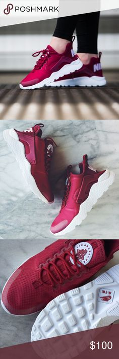 "Nike Air Huarache Ultra Sneakers •The Nike Air Huarache Ultra Women's Shoe is crafted with a stretchy one-piece upper, seamless molded details and an ultra-lightweight outsole for a streamlined look and easy packing into your bag. Color is ""Noble Red"" •Women's size 6.5, true to size. •New in box (lid has been removed). •NO TRADES/HOLDS/PAYPAL/MERC/VINTED/NONSENSE. Nike Shoes Sneakers"
