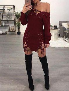 6be2dc37b2 Grommet Lace-up One Shoulder Knit Mini Dress. Cute Casual DressesSexy  DressesWomen s ...