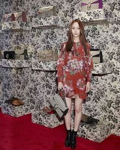 """150904 f(Krystal) = GUCCI Pop-Up Store Opening Party (cr. 1024TIME_郑秀晶时光站)  #fx #smtown #SM #kpop #idol #jungsis #jungsister #krystal #krystaljung…"""