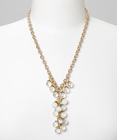 Gold & Clear Beaded Chain Necklace