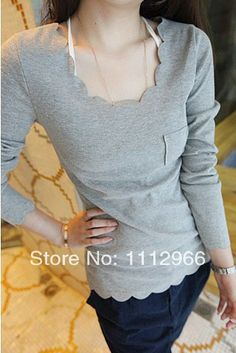2014 Hot cheap free shipping fashion casual Korean version was thin lace round neck long-sleeved t-shirt Slim $10.99