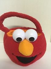 Elmo Treat A Trick Basket Red Faux Fur With Eyes Room Storage Or Halloween New
