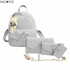 Famous Brand Women Backpack Pu Leather Bowknot Backpacks For Girls School Bags W/ Purse Bear Sac A Dos
