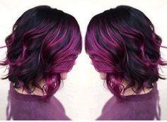 60 Trendy Hair Color Purple Highlights I Love Hair Color Purple, Hair Color For Black Hair, Cool Hair Color, Pink Hair, Hair Colors, Dark Hair Purple Highlights, Dark Purple, Reddish Purple Hair, Violet Hair