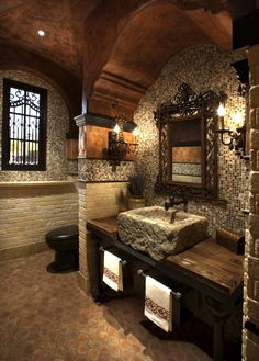 Rustic and character filled bath