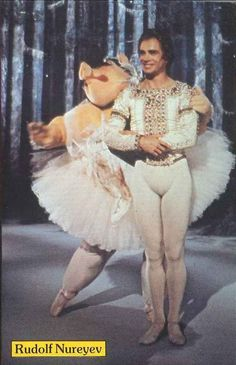 "On the second season of The Muppet Show, Rudolf Nureyev danced ""Swine Lake"" with a ballerina pig (not Miss Piggy). The Muppet Show, Episode 213, October 1977."