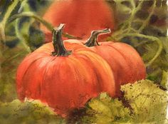 watercolor pumpkin paintings | pumpkin patch 11 x 15 arches 140 # cp daniel smith watercolors this ...
