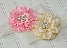 Peony Flower Headband with Pearl Rhinestone Center - Two Colors Available - Pink, Ivory - 3-6 Months. Made by Mae & Jane