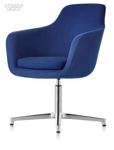Saiba chair with die-cast aluminum base and upholstered polyurethane foam seat by Geiger.