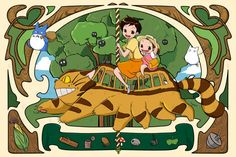 Studio Ghibli My Neighbor Totoro Art Nouveau by PenelopeLovePrints