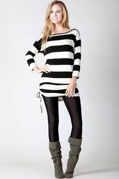 Black Stripe Tie Shirt – Laney Lu's Boutique www.laneylus.com