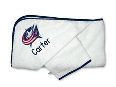 Our licensed Personalized Columbus Blue Jackets Hooded Towel Set is the perfect accessory set for bath time for NHL babies, infants and toddlers.