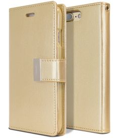 iPhone 8 PLUS Case & iPhone 7 PLUS Case, [Tri-Fold Wallet Case] GOOSPERY Rich Diary [Drop Protection] PU Luxury Leather Case w/ TPU Casing [Card Slots] Cover for Apple iPhone 8 PLUS & 7 PLUS, Gold