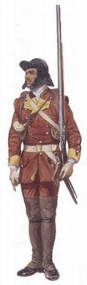 """Light infantry soldier of the 48th Regiment of Foot, 1759-1760 - """"During the Seven Years' War, the British infantry regiments in North America converted one of their ten companies into a 'light company.' These men were trained to fight in the forests. Like the other units, the light infantry of the 48th Regiment of Foot modified their uniforms to match their new role."""""""