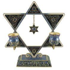 Artistique Design Enamel Jeweled Star of David Sabbath Candle Holder Judaica Gifts