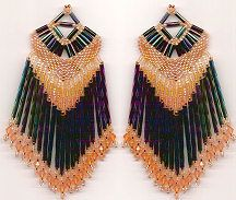 Fancy Fringed Shawl Earrings or Pendant Pattern by Charlotte Holley - Beaded Legends by Chalaedra  http://www.bead-patterns.com/shop/shop.php?method=itemnumber&keywords=12457