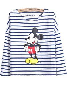 T-Shirt mit Mickey und Streifen-Muster, blau EUR€13.00