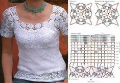 Bela blusa de crochê camiseta branca com gráfico Poncho Au Crochet, Pull Crochet, Crochet Jacket, Crochet Blouse, Thread Crochet, Crochet Yarn, Crochet Stitches, Knit Crochet, Crochet Patterns