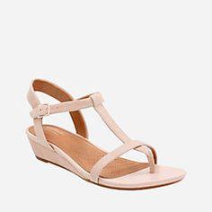 534d08e198ba Clarks  Parram Blanc Nude Suede T Strap Sandals