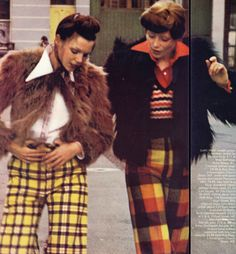 Left: Checked Oxford bags by Lee Bender at Bus Stop. Shirt from Bus Stop.  Right: Hand-knitted waistcoat from Bus Stop. Vanity Fair, October 1971