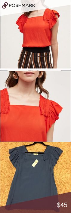 Anthropology top Square neck anthropology blouse tag says size 10 but fits more like an 8 shoulder to hem is 24 inches long laying flat the bust is 19 1/2 inches Anthropologie Tops Blouses
