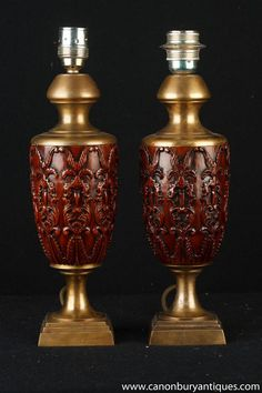 Pair French Carved Ormolu Amphora Table Lamps Lights Antique Table Lamps, Paris Flea Markets, Hand Carved, Carving, French, Lights, Antiques, Home Decor, Antiquities