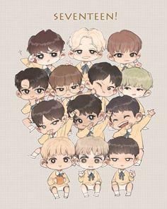 Fanart Kpop, Cartoon Fan, Kpop Drawings, Kdrama Memes, Seventeen Wallpapers, Anime Chibi, Chibi Boy, T Art, Korean Bands