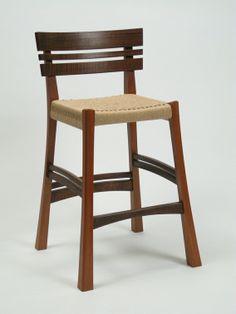 Mahogany stool with Danish cord seat, custom made by Jeff O'Brien