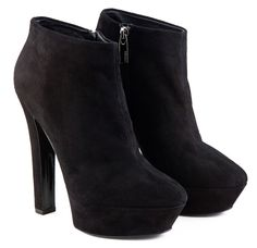high heel black leather ankle boots