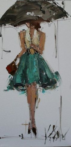 Kathryn Trotter - Love the Rain, Colors (especially the red and green), Brush Strokes, Cute Belt, Bare Shoulders, Dancer-llike Pose (crossed legs on the toes) with a Flouncy Skirt Made for Twirling, Olive Skin, Dark Hair...GORGEOUS - all of it!