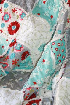 Crib Rag Quilt Baby Girl Crib Bedding Seaside Cottage by justluved
