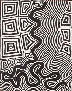 Ronnie Tjampitjinpa ~ Untitled (Tingari motifs and snake), 1997 Aboriginal art Aboriginal Painting, Aboriginal Artists, Dot Painting, Encaustic Painting, Indigenous Australian Art, Indigenous Art, Kunst Der Aborigines, Aboriginal Culture, Native Art