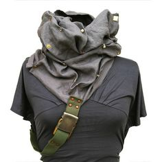 viridrain: Oh yes, this one too, please ! (via Etsy Transaction - Hide and Seek Convertible Cowl Linen Scarf Hood- Apocalyptic Haute Couture fashion - Bohemian Art wear - Stone temple gray -) K Fashion, Fashion Fantasy, Winter Fashion, Fashion Styles, Apocalyptic Clothing, Post Apocalyptic Fashion, Style Couture, Haute Couture Fashion, Mode Steampunk