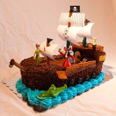 Peter Pan, Hook on Pirate Ship, and Tick Tock Cake