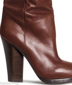 H-M-Trend-Premium-Real-Leather-Knee-High-Heel-Boots-Brown-UK5-EU38-US7